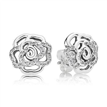 Pandora Shimmering Rose Stud Earrings, Clear CZ 290575CZ