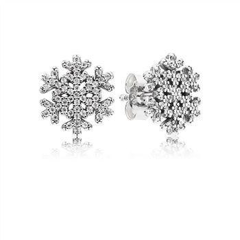 Pandora Snowflake silver stud earrings with clear cubic zirconia 290589CZ